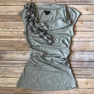 Anthropologie Gray Deletta Ruched Top